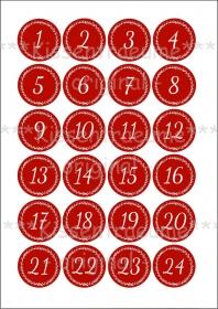 Bügelbild Zahlen, Bügelfolie, 24 Adventskalenderzahlen für Adventssäckchen / Adventskalender zum aufbügeln in rot-weiß.