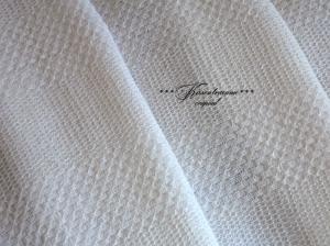 Toll gewebter Vintage Baumwollstoff, Handtuchstoff, Baumwolle als Meterware in Naturweiss.