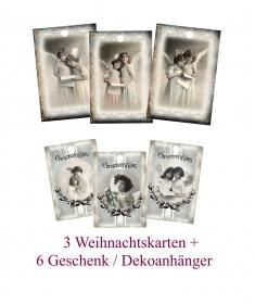 12 Engel Geschenkanhänger, für Weihnachtsgeschenke, Weihnachtsdeko Set No 15 im Vintage Stil.