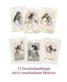 12 Engel Geschenkanhänger, für Weihnachtsgeschenke, Weihnachtsdeko Set No 13 im Vintage Stil.