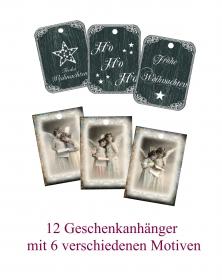 12 Engel Geschenkanhänger, für Weihnachtsgeschenke, Weihnachtsdeko Set No 14 im Vintage Stil.