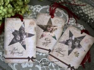 Weihnachten, 9 Geschenkanhänger, Deko-Anhänger mit Vintage Engeln & Weihnachtgrüßen.