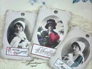 Weihnachten, Weihnachtsanhänger, Geschenkanhänger im Vintage Stil, Eigenentwurf & Anfertigung, Set No 18.