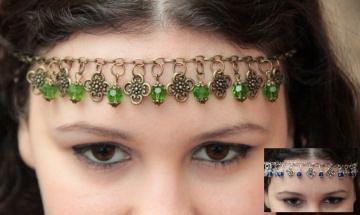 SURRA - Kopfschmuck in Bronze oder Silber mit gefassten Glasperlen und Blüten