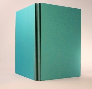 handgebundenes Schreibbuch mit türkisem Gewebeeinband, Gästebuch,