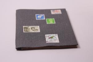 Handgebundenes Porto-Buch mit weichem Gewebe-Einband und Taschen-Seiten