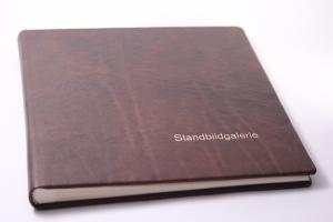 handgebundenes Fotoalbum mit braunem Ledereinband