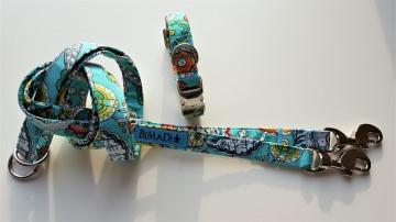 Handgefertigte Hundeleine FLOWERY Alu Karabiner und Edelstahl