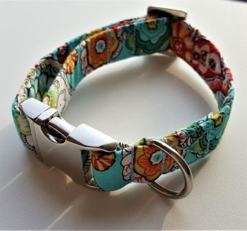 Handgemachtes Hundehalsband Flowery mit Alu Steckschnalle und Edelstahl