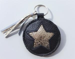 Handgemachter Schlüsselanhänger Star Metallic Leder Black - ökologisch, mineralisch gegerbt und frei von AZO-Farbstoffen und Konservierungsmittel
