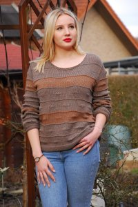 Damen-Pullover aus 100% Baumwolle in Braun Größe 38 - 40