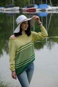 gestreifte, leichte Pullover aus Baumwolle, Gr.42-44