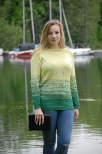 meliert/gestreifte Pullover in Farbe grün/lime, Größe 42-44