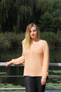 Lachsfarbene Pullover aus 100% Baumwolle mit Zopfmuster, Größe 40-42