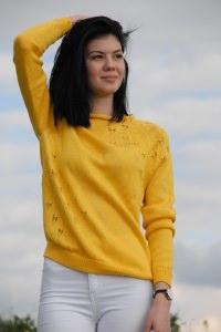Gelber Pullover aus Baumwolle + Viskose, Größe 36-38