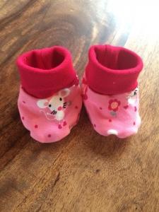 Babypuschen - Mäuse auf pink
