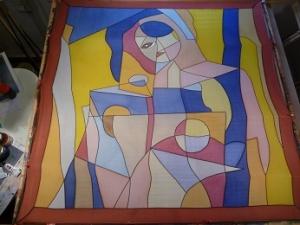 Seidentuch mit einem abstraktem Bild einer Frau - Handarbeit kaufen