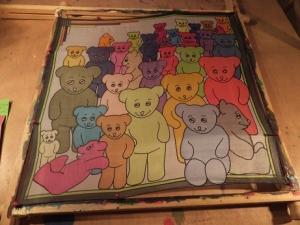 Seidentuch mit vielen kleinen und großen Teddybären - Handarbeit kaufen