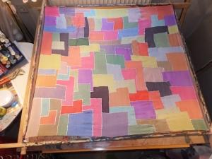Seidentuch mit vielen verschiedenen Vierecken in vielen bunten Farben - Handarbeit kaufen
