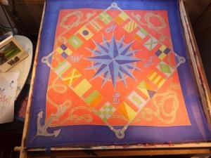 Seidentuch im Maritimen Look mit Flaggen, Seilen und Ankern - Handarbeit kaufen