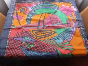 Seidentuch mit einem wilden bunten abstrakten Muster - Handarbeit kaufen