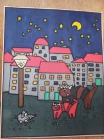 Fensterbild aus Seide mit Katz und Maus im Mondschein - Handarbeit kaufen