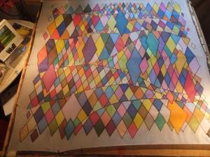 Seidentuch mit 521 verschiedenen einzelnen viereckigen Flächen - Handarbeit kaufen