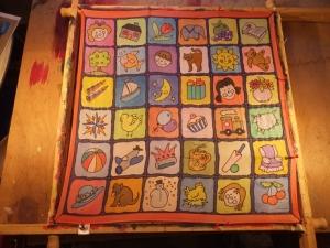 Seidentuch mit ganz vielen lustigen lustigen kleinen Bildern - Handarbeit kaufen