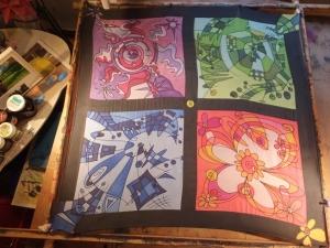Seidentuch mit vier Vierecken in verschiedenen Farben - Handarbeit kaufen