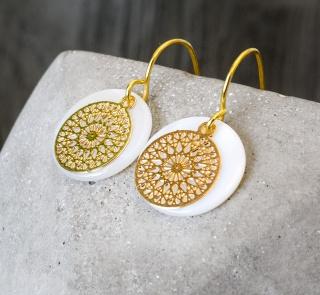 Filigrane Ohrringe - Perlmutt verschiedene Farben  Gold