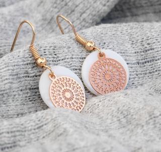Filigrane Ohrringe - Perlmutt verschiedene Farben Rose Gold