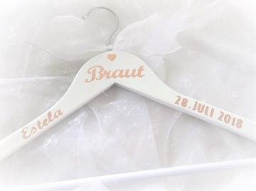 Kleiderbügel ♥ Braut ♥  Hochzeit ♥ individualisiert♥ roségold ♥ Holz ♥ weiß ♥ Brautkleid
