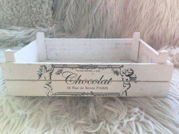 alte weiße Kiste ★ Holz ★ Label chocolat ★ vintage ★ shabby ★ Aufbewahrung