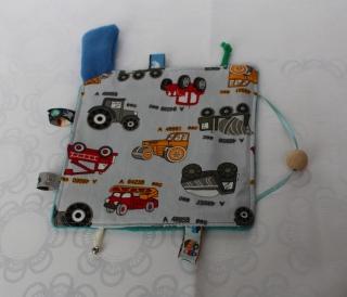 Knistertuch, Fühltuch - Nutzfahrzeuge auf grau, blau