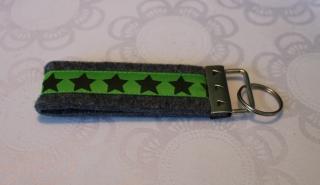 Schlüsselanhänger aus Filz - Sterne grün