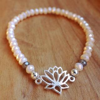 Glasperlen-Armband elegant in beige/gold mit Silber-Lotusblüte