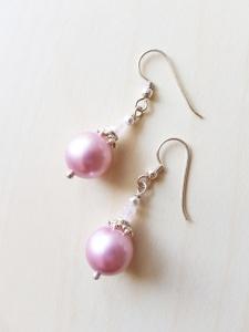 Echtsilber Ohrringe elegant rosafarben Swarovski-Kristallperlen