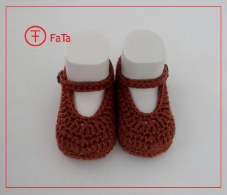 9,5 cm, Babyballerinas, Babyschuhe, Taufschuhe, braun, reine Baumwolle