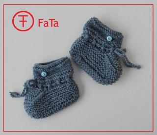 9 cm, Babyschuhe, Taufschuhe, aus warmer Schurwolle gestrickt, jeans-blau