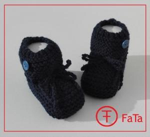 9 cm, Babyschuhe, Taufschuhe, aus warmer Schurwolle gestrickt, nachtblau
