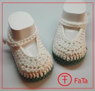 10,5 cm, Babyballerinas, Babyschuhe, Taufschuhe,  reine Baumwolle , weiß-grün