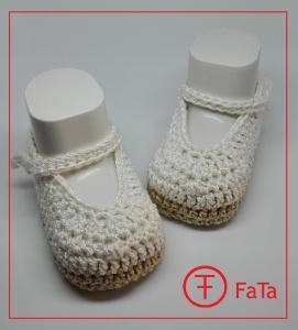 10,5 cm, Babyballerinas, Babyschuhe, Taufschuhe,  reine Baumwolle , weiß-beige