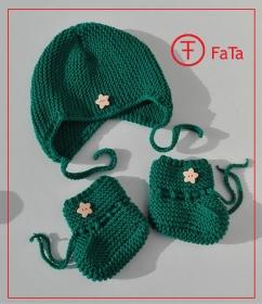 Babyset: Babymütze und Babyschuhe, grün, Merino