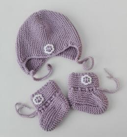 Babyset: Babymütze und Babyschuhe, lila, Merino