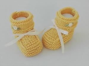 9 cm, Babyschuhe, Taufschuhe, Seide gelb