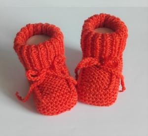 9 cm, Babyschuhe, Taufschuhe, aus reiner Mernowolle gestrickt, orange