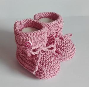 9,5 cm, Babyschuhe, Taufschuhe in rosa gestrickt