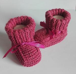 10,5 cm, Babyschuhe, Taufschuhe in rosa gestrickt