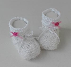 9,5 cm, Babyschuhe, Taufschuhe, Baumwolle weiß - rosa