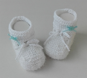 8,5 cm, Babyschuhe, Taufschuhe, Baumwolle weiß - hellblau